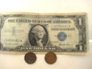 3/SET: ONE 1935 US$1 BILL BLUE SEAL & TWO OLD ONE CENT US COINS COLLECTION