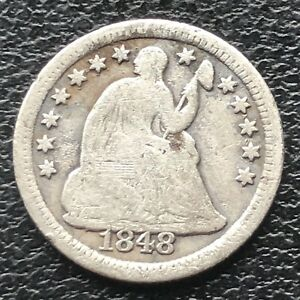 1848 O SEATED LIBERTY HALF DIME 5C EARLY NEW ORLEANS  BETTER GRADE 11558