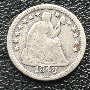 1848 O SEATED LIBERTY HALF DIME 5C EARLY NEW ORLEANS  BETTER GRADE 11557