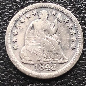 1848 O SEATED LIBERTY HALF DIME 5C EARLY NEW ORLEANS  HIGHER GRADE 11554