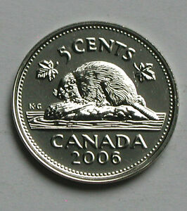 2006 P CANADA ELIZABETH II NICKEL COIN   5 CENTS   PL UNC  FROM MINT SET