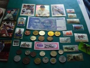 43 PIECE LOT 12 FOREIGN COINS 8 TOKENS 2 FOREIGN PAPER MONEY ETC.