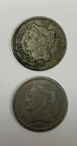 1865 3 CENT LOT OF 2