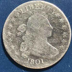 1801 DRAPED BUST DIME 10C  EARLY DATE BETTER GRADE  9631