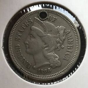 1866 THREE CENT PIECE NICKEL 3C BETTER GRADE 11359