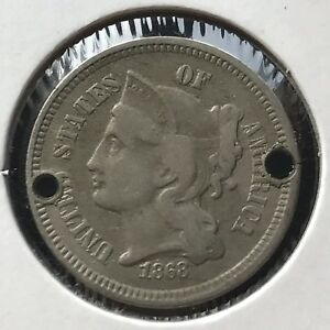 1868 THREE CENT PIECE NICKEL 3C BETTER GRADE 11390