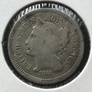1868 THREE CENT PIECE NICKEL 3C BETTER GRADE 11388