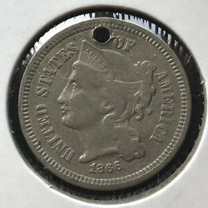 1866 THREE CENT PIECE NICKEL 3C BETTER GRADE 11361