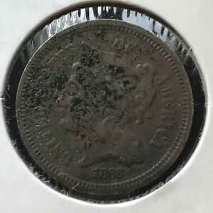 1868 THREE CENT PIECE NICKEL 3C BETTER GRADE 11386