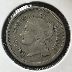 1868 THREE CENT PIECE NICKEL 3C BETTER GRADE 11384