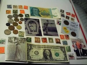 COINS 49 PIECE LOT 15 FOREIGN COINS 1 FOREIGN PAPER MONEY