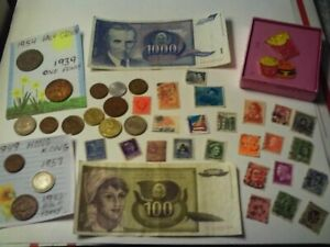 COINS 38 PIECE LOT 15 FOREIGN COINS 2 FOREIGN PAPER MONEY