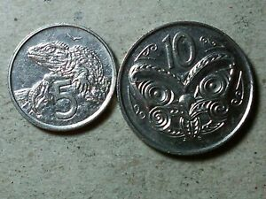 NEW ZEALAND LOT OF 5 CENTS AND 10 CENTS 1988