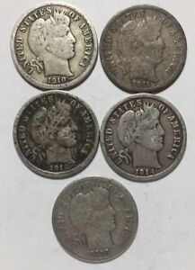 1910 1911 D 1912 D 1914 D AND 1916 10C BARBER DIMES 90  SILVER