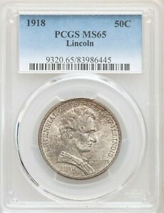 1918 PCGS MS65 TONED LINCOLN ILLINOIS HALF DOLLAR COMMEMORATIVE COMMEM GEM