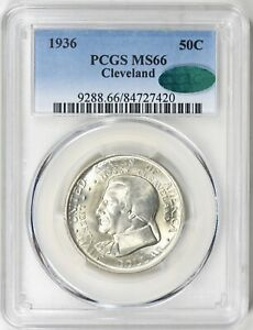 1936 PCGS   CAC MS66 CLEVELAND GREAT LAKES EXPO COMMEMORATIVE HALF DOLLAR GEM
