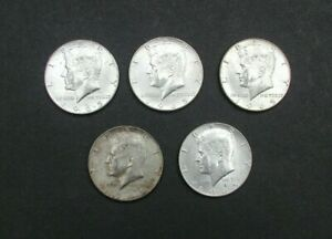 5 KENNEDY HALF DOLLARS $.50 1965 CIRCULATED 40  SILVER STORED FOR YEARS