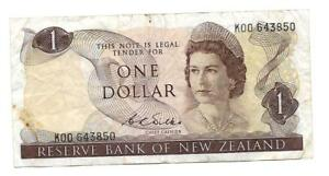 1$ ONE DOLLAR NEW ZEALAND BANKNOTE ND 1968 75  P 163B SIGN D.L.WILKS