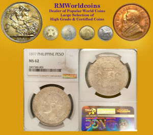 Click now to see the BUY IT NOW Price! PHILIPPINES 1897 PESO  HIGH GRADE NGC 62   SHARP LUSTER FIELDS BEAUTY.