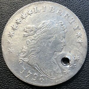 1798 DRAPED BUST DOLLAR ONE DOLLAR  BETTER GRADE HOLED $1  13510