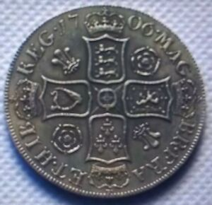 NICE  QUEEN ANNE 1706 PRE UNION ROSES & PLUMES CROWN IN EXT FINE  RESTRIKE