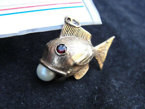 9CT GOLD FISH W PEARL IN MOUTH  RUBY EYES PENDANT FROM VINTAGE CHARM HALLMARKED