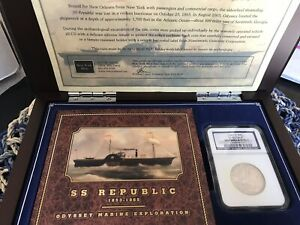 1861 O SS REPUBLIC SHIPWRECK NGC LIBERTY SEATED HALF DOLLAR WITH CASE