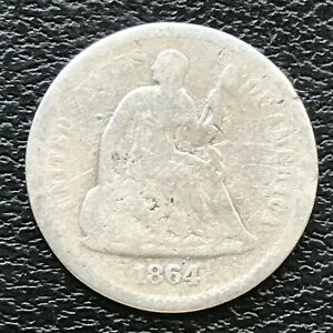 1864 S SEATED LIBERTY HALF DIME 5C  KEY DATE CIRCULATED 13807