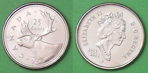 2002P CANADA CARIBOU QUARTER FROM MINT ROLL