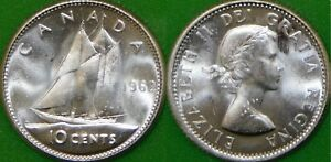 1962 CANADA SILVER DIME GRADED AS BRILLIANT UNCIRCULATED FROM ORIGINAL ROLL