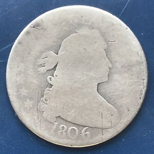 1806 DRAPED BUST QUARTER DOLLAR 25C GENUINE   EARLY TYPE COIN 8875