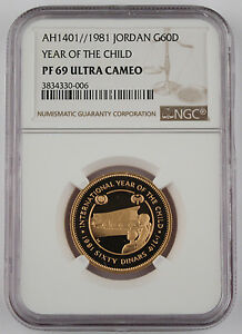 Click now to see the BUY IT NOW Price! JORDAN 1981 60 DINARS GOLD COIN NGC PF69 ULTRA CAMEO YEAR OF CHILD .5062 OZ AGW