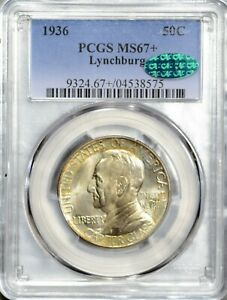 1936 50 CENT LYNCHBURG COMMEMORATIVE HALF DOLLAR PCGS MS67  CAC