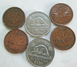 CANADA GEORGE VI COINS 1940 & '42 NICKELS 1945 1950 1951 1951 CENTS VF/XF
