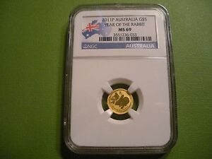2011 P AUSTRALIA GOLD 5 DOLLAR   YEAR OF THE RABBIT   NGC MS 69    UNCIRCULATED
