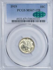 Click now to see the BUY IT NOW Price! 1919  MERCURY DIME 10C PCGS MS67 FB CAC