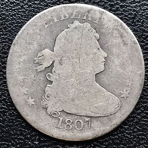 1807 DRAPED BUST QUARTER DOLLAR 25C GENUINE   EARLY TYPE COIN 6016