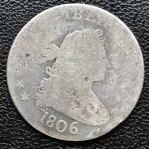 1806 DRAPED BUST QUARTER DOLLAR 25C GENUINE   EARLY TYPE COIN 6015