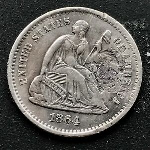 1864 S SEATED LIBERTY HALF DIME 5C TOUGH DATE SAN FRANCISCO XF   AU DET.  6398