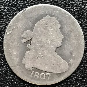1807 DRAPED BUST QUARTER DOLLAR 25C GENUINE   EARLY TYPE COIN 6017