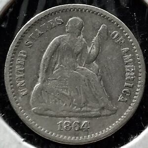 1864 S SEATED LIBERTY HALF DIME 5C BETTER GRADE VF  DATE  11745