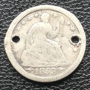 1853 O SEATED LIBERTY HALF DIME 5C NEW ORLEANS  CIRCULATED 11569