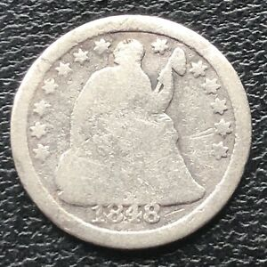 1848 O SEATED LIBERTY HALF DIME 5C EARLY NEW ORLEANS  BETTER GRADE 11555