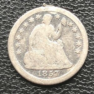 1857 O SEATED LIBERTY HALF DIME 5C NEW ORLEANS  BETTER GRADE 11588