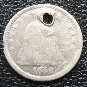 1858 O SEATED LIBERTY HALF DIME 5C NEW ORLEANS  BETTER GRADE HOLED 11594