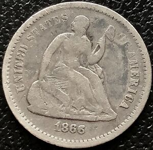 1866 S SEATED LIBERTY HALF DIME 5C BETTER GRADE SAN FRANCISCO  15551