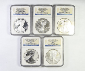 2011 SILVER EAGLE NGC MS/PF 70 25TH ANNIVERSARY EARLY RELEASES 5 COIN SET