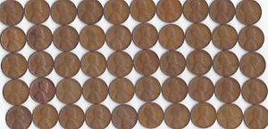 1945 P LINCOLN WHEAT CENT ROLL CIRCULATED