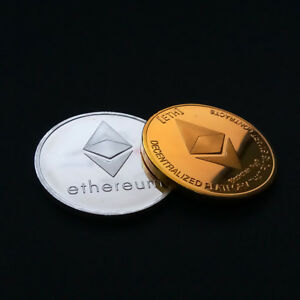 PHYSICAL COMMEMORATIVE SILVER/GOLD ETHERUEM COINS VIRTUAL ETH COLLECTORS GIFT