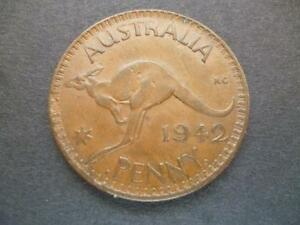AUSTRALIA ONE PENNY COIN 1942 IN GOOD USED CONDITION BRONZE FEATURES KANGAROO